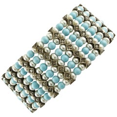 1.60 Carat Diamonds, 20.48 G Pearls Turquoise Rose Gold and Silver Link Bracelet