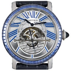 Cartier Rotonde De Cartier Astroregulateur White Gold Sapphire Set Wristwatch