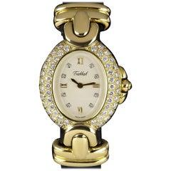 Tabbah Diamond Set Ladies Gold White Dial 75038 Quartz Wristwatch