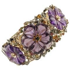 Diamond, Ruby, Sapphire, Tsavorites, Peridots, Amethysts Gold Silver Bracelet