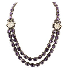 Diamonds Amethysts Rock Crystal Flowers Little Pearls Rose Gold Silver Necklace