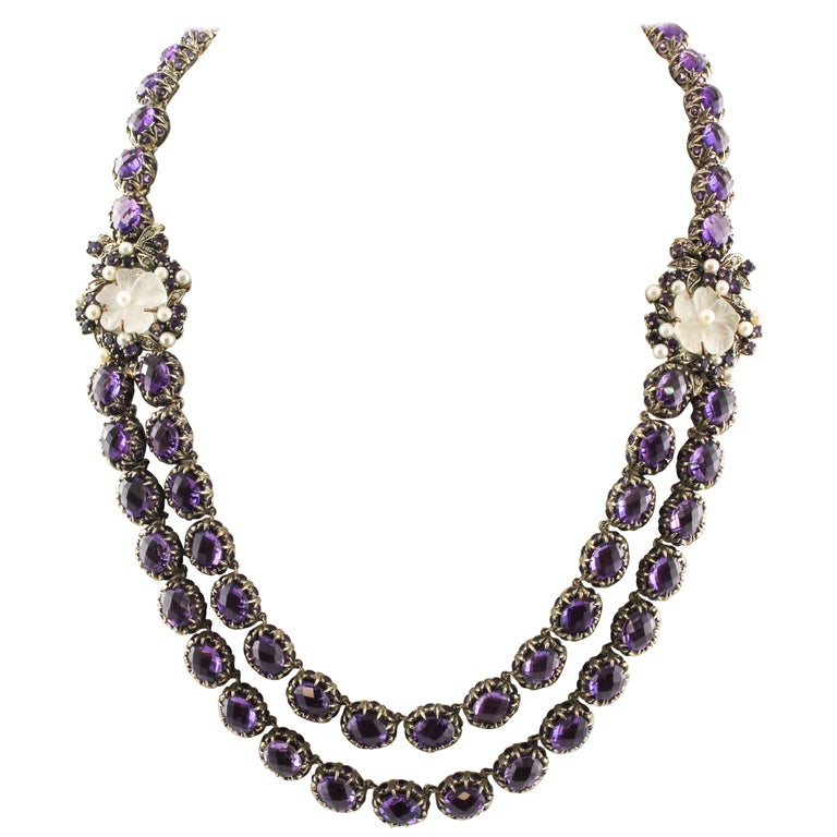 Diamonds Amethysts Rock Crystal Flowers Little Pearls Rose Gold Silver Necklace For Sale