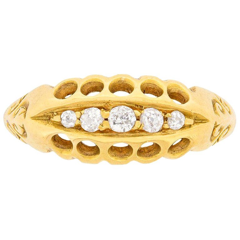 Antique Old Cut Diamond Five-Stone Ring, circa 1900s For Sale