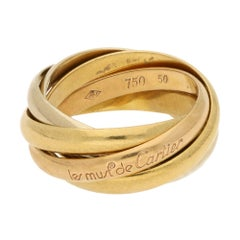 Le Must de Cartier Five Band Trinity Ring 18K Rose, Yellow and White Gold