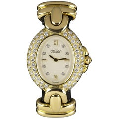 Tabbah Diamond Set Ladies Gold White Dial 75038 Quartz Wristwatch
