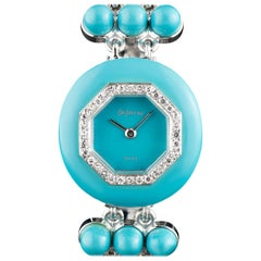 DeLaneau White Gold and Turquoise Diamond Set Manual Wind Wristwatch