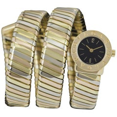 Bvlgari Tubogas Ladies Tri-Gold Black Dial BB191T Quartz Wristwatch