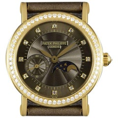 Patek Philippe Calatrava Ladies Gold Brown Dial 4858J Manual Wind Wristwatch