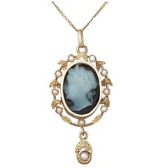 Antique Hardstone and Seed Pearl Yellow Gold Cameo Pendant Circa 1880