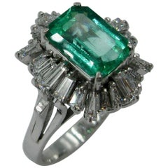 2.1 Carat Emerald Diamond Platinum Cocktail Ring