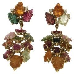 Tourmaline Leaves 14 Karat Yellow Gold Diamonds Drop Earrings