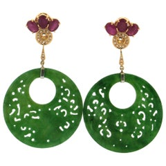 Jade 18 Karat Yellow Gold Ruby and Diamonds Drop Earrings
