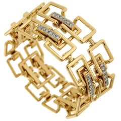 Valentin Magro Diamond Gold Square Link Bracelet