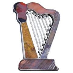 Antique Victorian Scottish Agate Harp Brooch Silver, circa 1860