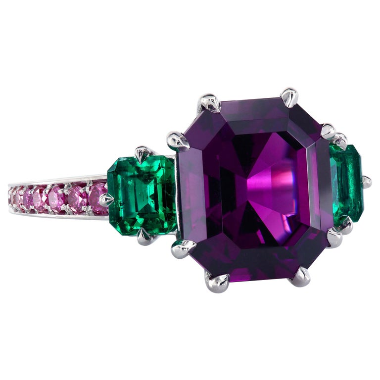 4424bc6f85c65 Leon Mege GIA Certified Purple Garnet with Emeralds Platinum Three-Stone  Ring
