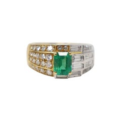 1.25 Carat Emerald White and Yellow Gold Diamonds Wedding or Engagement Ring
