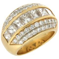 2.50 Karat Princess Cut Diamonds, 18 Karat Yellow Gold, Band Ring