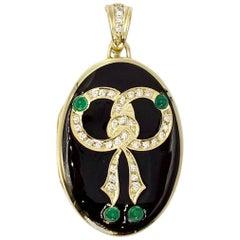 Yellow Gold Diamond, Emerald and Enamel Locket