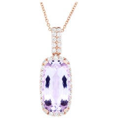 16.10 Carat Cushion Cut Kunzite and 1.40 Carat White Diamond Pendant