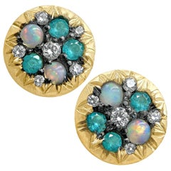 Joke Quick Australian Opal Paraiba Tourmaline Diamond Starstruck Stud Earrings
