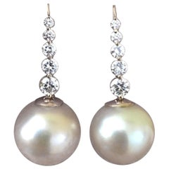 Estate South Sea Pearl Diamond Drop Earrings