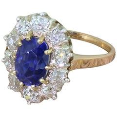 Art Deco 4.00 Carat Natural Ceylon Sapphire and Old Cut Diamond Ring