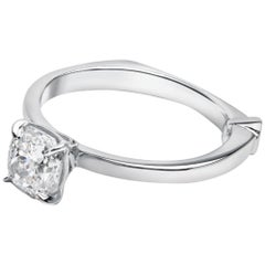 GCAL Certified 18 Karat White Gold and 1.02 Carat Diamond Bía Ring by Alessa