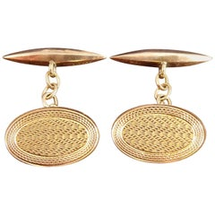 Art Deco Gold Cufflinks, Engine Turned Engraving, Oval Fronts with Torpedo Backs