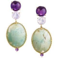 Daria de Koning Amethyst, Opalescent Quartz, Aquaprase Earrings