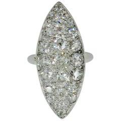 Edwardian Diamond Platinum Ring 3.5 Carat Navette Wedding Engagement Cocktail