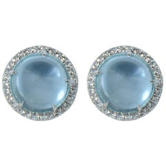 Blue Topaz Cabochon Diamond Gold Earrings  Handcrafted by Margherita Burgener