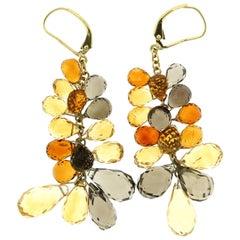 65 Carat Multicolor Citrine Briolette Drop and Dangle Earrings