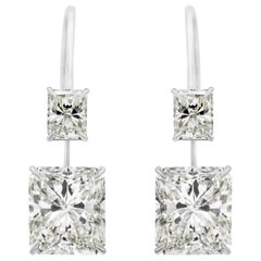 GIA Certified Radiant Cut Diamond Drop Earrings