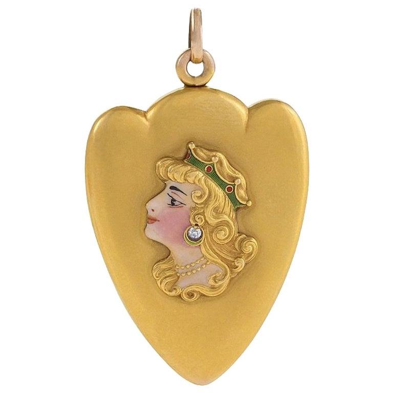 Art Nouveau Diamond, Enamel and Gold Locket For Sale