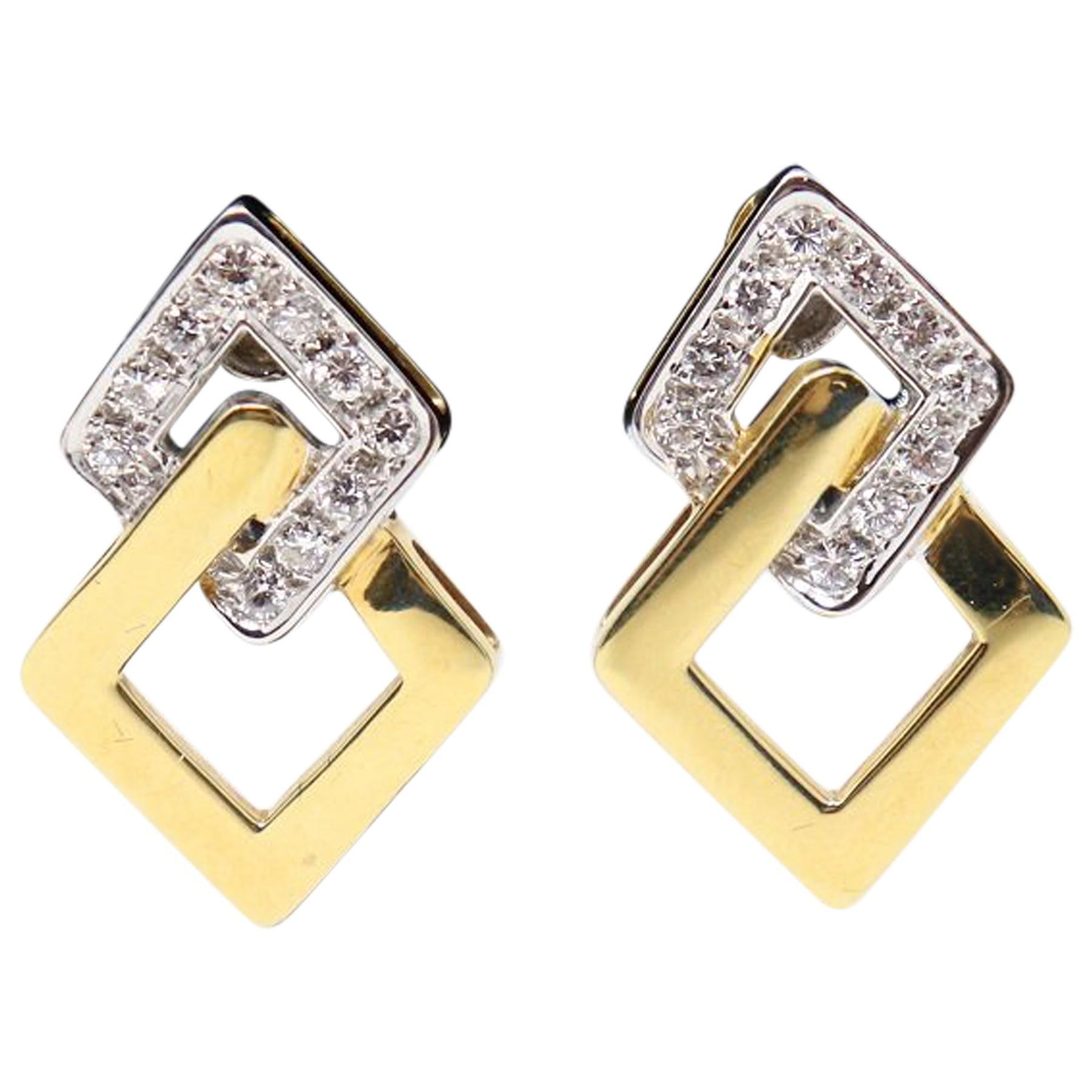 Yellow Gold Clip-On Drop Earrings with Brilliant Cut Diamonds