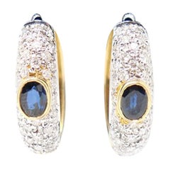 Yellow Gold Hoop Earrings with Brilliant Cut Diamonds and Blue Sapphire