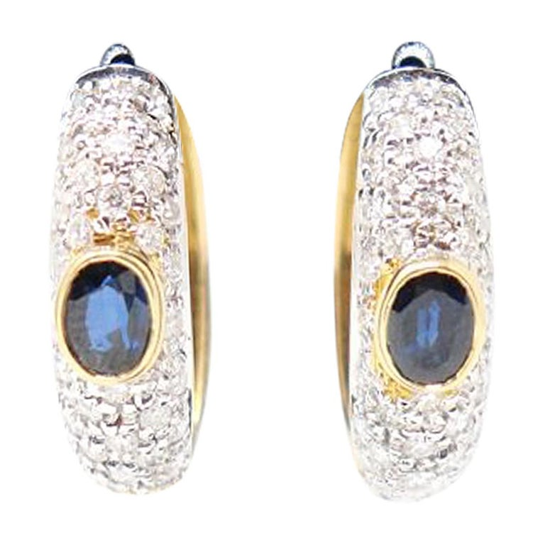 Yellow Gold Hoop Earrings with Brilliant Cut Diamonds and Blue Sapphire For Sale