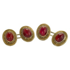 American Antique Gold and Cabochon Garnet Cufflinks by Potters Studios