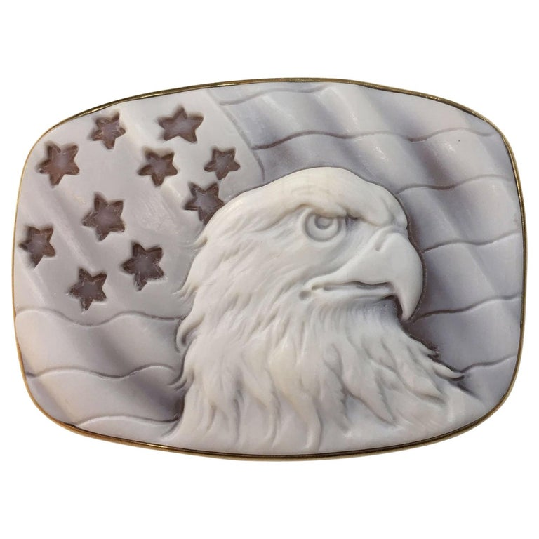 Large American Eagle Cameo Heirloom Pin Brooch Pendant Estate Fine Jewelry For Sale