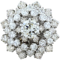 Estate Diamond Gold Domed Flower Cluster Ring