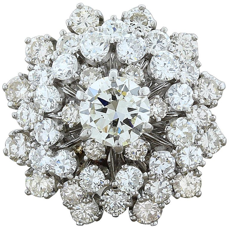 Estate Diamond Gold Domed Flower Cluster Ring For Sale
