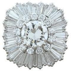 Magnificent Estate Diamond Platinum Ballerina Ring