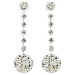 HRD Certified Round Diamond Dangle Earrings