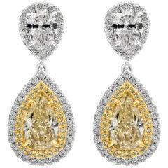 GIA Certified Yellow Diamond Double Halo Drop Earrings