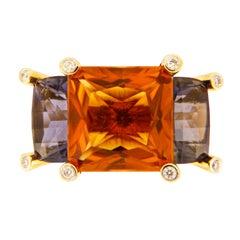 Valentin Magro Colori Princess Citrine Iolite Diamond Gold Three-Stone Ring
