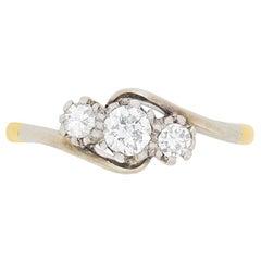 Late Art Deco Diamond Three-Stone Twist Ring, circa 1930s
