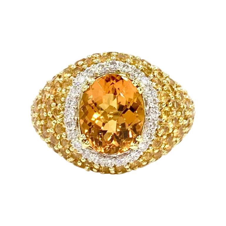 18 Karat Yellow Sapphire, Citrine and Diamond Ring For Sale