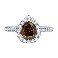1.21 Carat Pear Shape Fancy Dark Yellow Brown Diamond Halo Engagement Ring