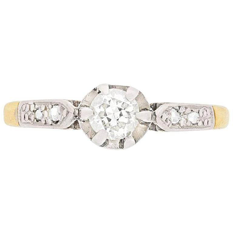 Victorian Diamond Solitaire Engagement Ring, circa 1900s For Sale