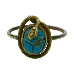 Victorian Snake Turquoise Scarab 18 Karat Gold Ring Egyptian Revival Antique